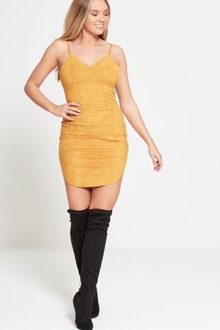 Mustard Spaghetti Strap Faux Suede Dress