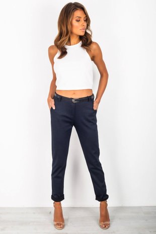 Navy Belted Cigarette Trousers