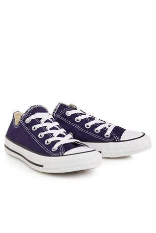 Navy Canvas Stripe Sole Flat Trainers
