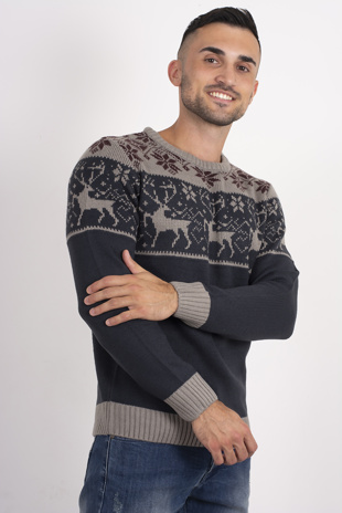 Mens Navy Contrast Christmas Jumper