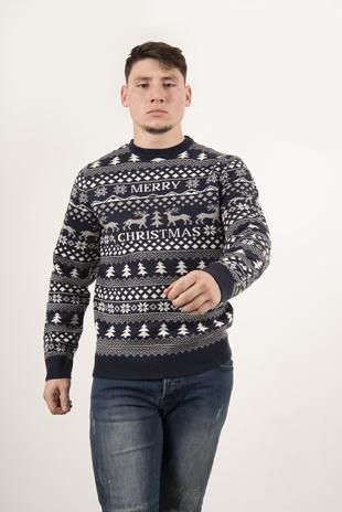 Mens Navy Christmas Printed Knit Jumper