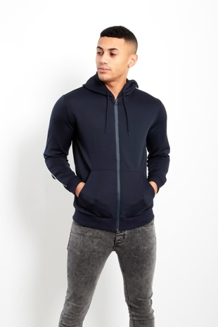 Navy Contrast Piping Detail Hoodie