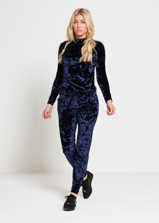 Navy Crushed Velvet Lounge Wear Jogger Set