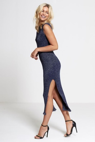 Navy Knitted Glitter Midi Dress