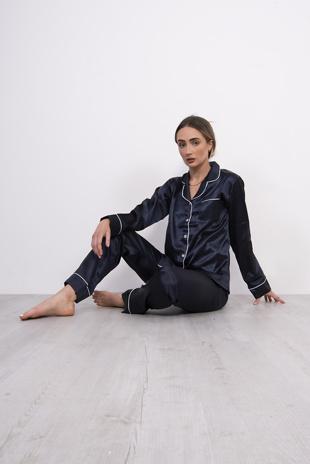 Navy Piping Detail Long Sleeve Satin Pyjama Set