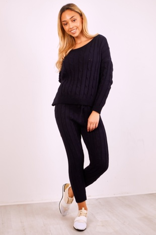 Navy Plait Knit Jumper And Pants Set