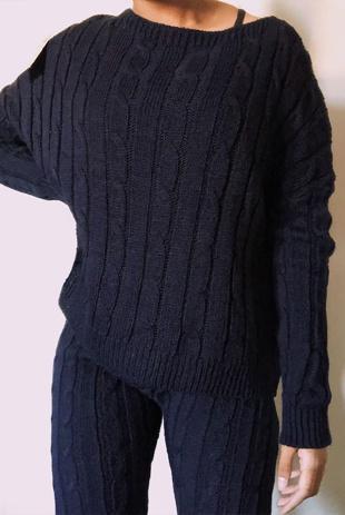 Navy Plait Knit Jumper And Pants Set