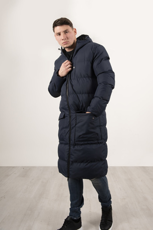 Mens Navy Longline Hooded Puffer Coat