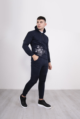 Mens Navy Embroidered Skinny Fit Tracksuit