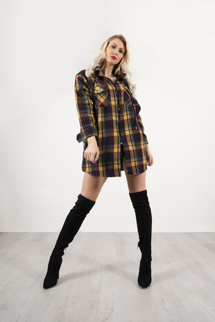 Mustard And Navy Plaid Hooded Oversized Shirt
