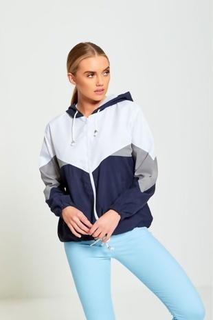 Navy Zip Through Hooded Jacket