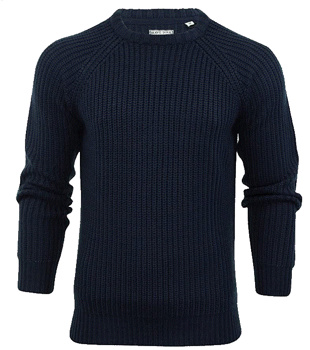 Mens Navy Cable Knit Patchwork Jumper