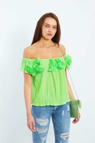 Neon Green 3D Ruffle Bardot Pleated Top