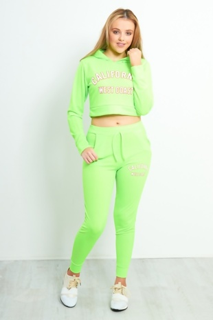 Neon Green California Slogan Lounge Set