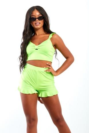 Neon Green Frill Hem High Waist Shorts