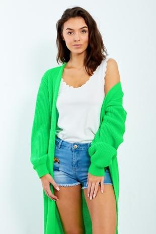 Neon Green Knit Longline Belted Cardigan