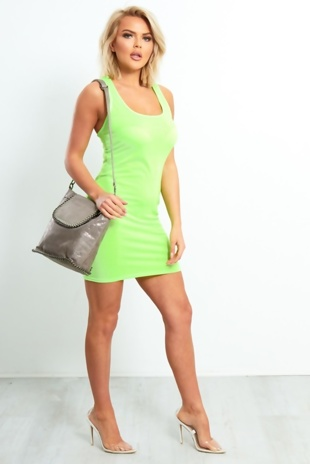 Neon Green Sleeveless Bodycon Dress With Ring Back