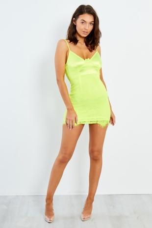 Neon Lime Lace Satin Mini Dress