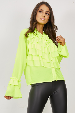 Neon Lime Ruffle Bow Blouse