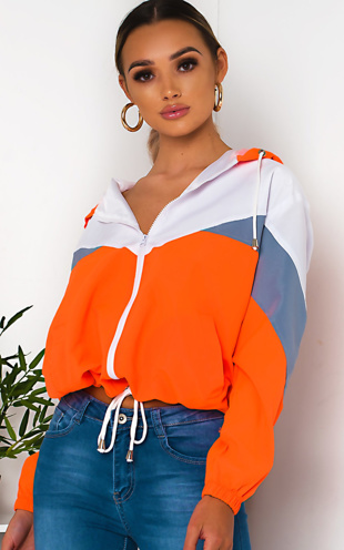 Neon Orange Zip Through Hooded Jacket
