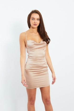 Nude Cowl Neck Strappy Back Satin Mini Dress