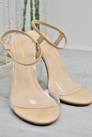 Nude Elasticised Strap Clear Block Heels