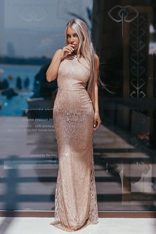 Nude Premium Lace Overlay Maxi Dress