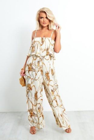 Off White Chain Print Ruffle Trim Pleated Jumpsuit