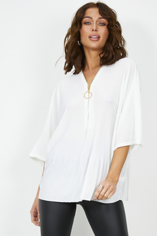 Off White Pleated O Ring Zip Detail Blouse