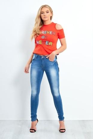 Orange Forever Or Never Slogan Knot Front Top