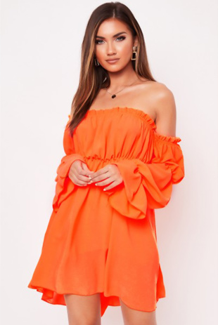 Orange Frill Bardot Dress