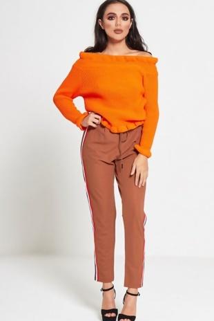 Orange Frill Neck Knitted Jumper