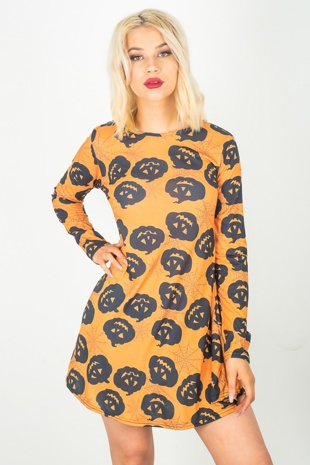 Orange Pumpkin Halloween Swing Dress
