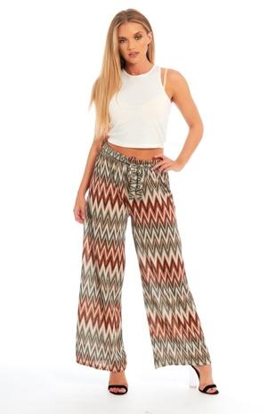 Orange Zig-Zag Pattern Wide Leg Trousers