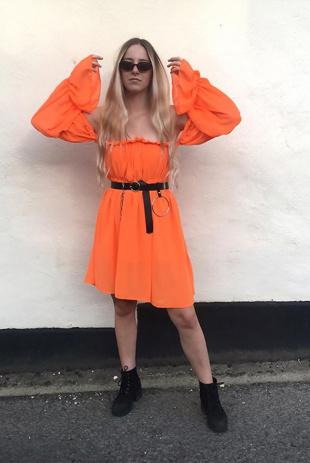 Orange Frill Bardot Dress