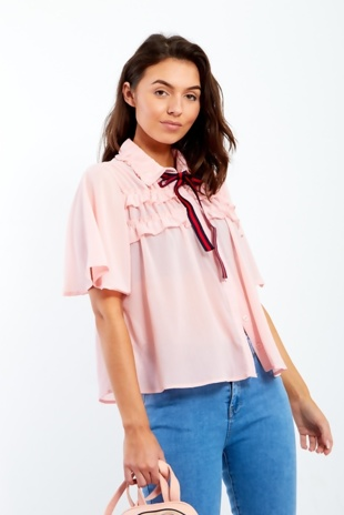 Pale Pink Bow Blouse With Frill Front Detail