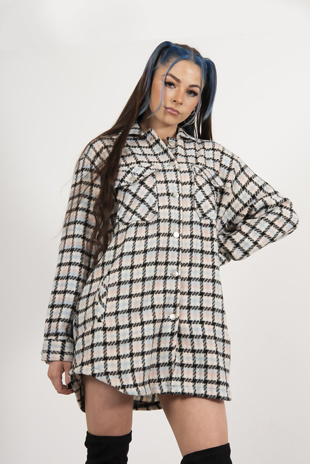 Pastel Brushed Check Oversized Pocket Detail Shirt