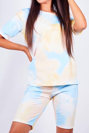 Pastel Yellow Tie dye T-shirt And Cycling Shorts Set