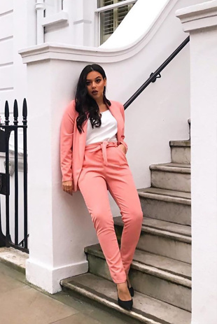 Peach Belted Cigarette Trouser And Blazer Co-ord