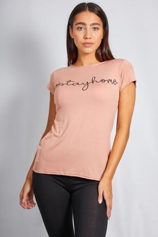 Peach Stay Home Slogan T-Shirt