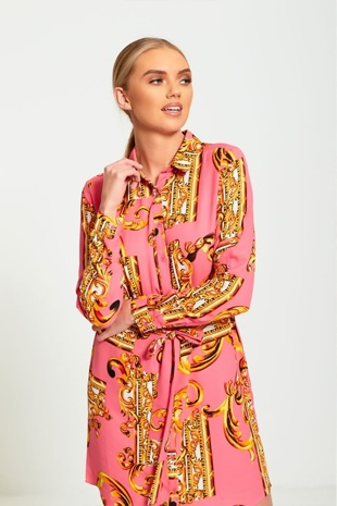 Pink Baroque Button Up Dress