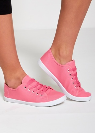 Pink Canvas Lace Up Plimsolls Trainers