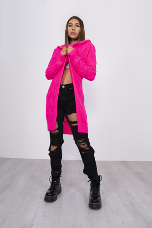 Hot Pink Cable Knit Hooded Cardigan