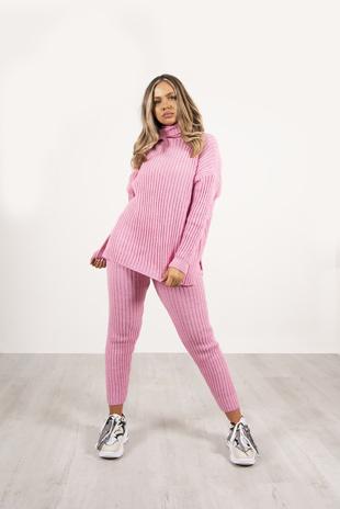 Pink Roll Neck Knit Lounge Set
