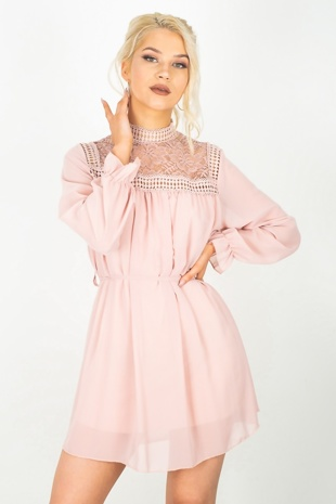 Pink Crochet Detail Bishop Sleeve Tie Dress