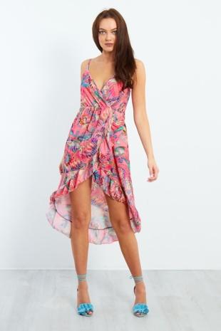 Pink Cross Over Frill Dress