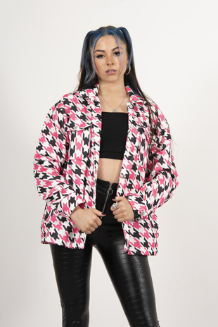 Fuchsia Houndstooth shacket