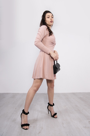 Pink Front Wrap Detail Skater Dress