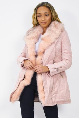 Pink Faux Fur Suedett Longline Coat