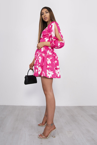 Pink Floral Plunge Split Sleeve Tiered Dress